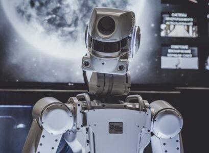 White Robot Scifi in Space Ship